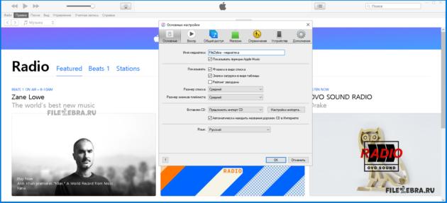 Настройка iTunes от Apple - ФайлЗебра.ру