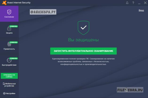 Защита системы с использованием Avast Internet Security
