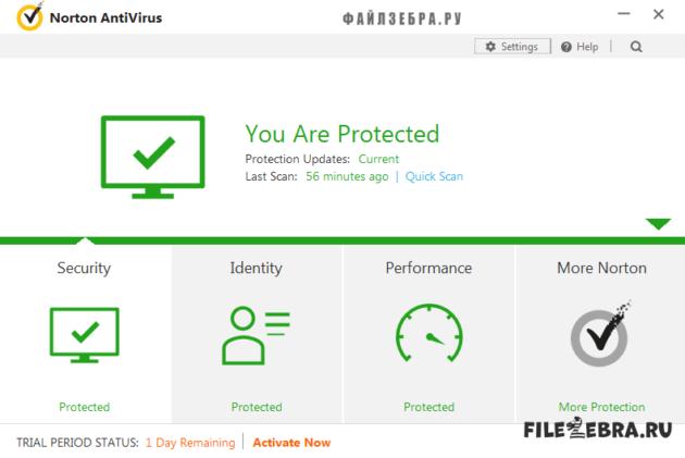 Интерфейс Norton AntiVirus (Нортон Антивирус)